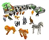 Generic Rain Forest Jungle Animals Figurines & Farm Animal Toys safari animal figures -Assorted 32 pcs animals n trees n fence-2 Inch