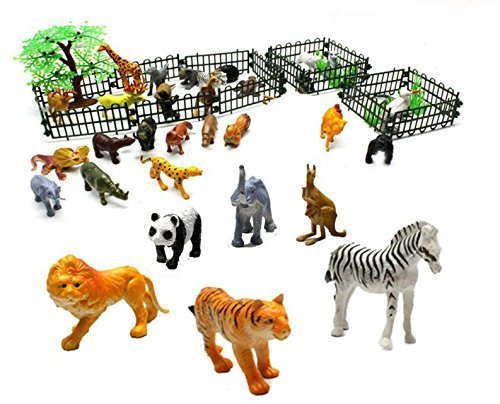 Generic Rain Forest Jungle Animals Figurines & Farm Animal Toys safari animal figures -Assorted 32 pcs animals n trees n fence-2 Inch