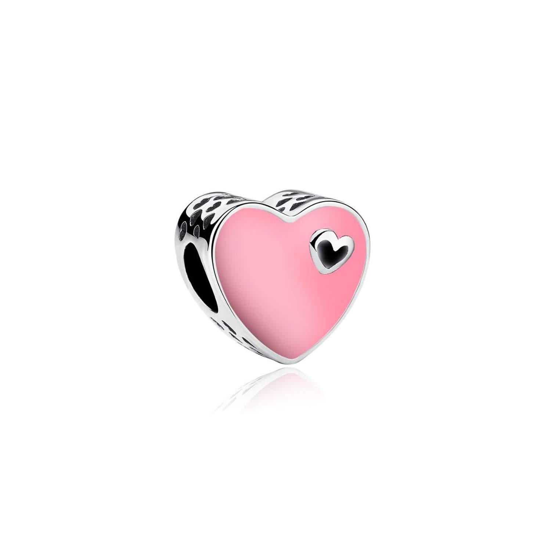 Styliee Charme de Perles de Cadeau de Bijoux Silver Plated Bead Mother Heart Openwork Crystal Mother Family Charm Fit Original Bracelets DIY Women Jewelry Making