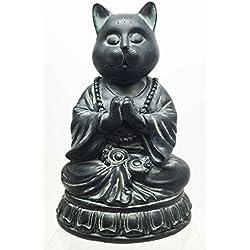 SMALL CHARM MEDITATING ZEN BUDDHA CAT SCULPTURE BODHISATTVA FIGURINE