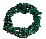 1pc Natural Malachite Crystal Healing Triple Twist Braided Chip Gemstone 7 Inch Stretch Bracelet