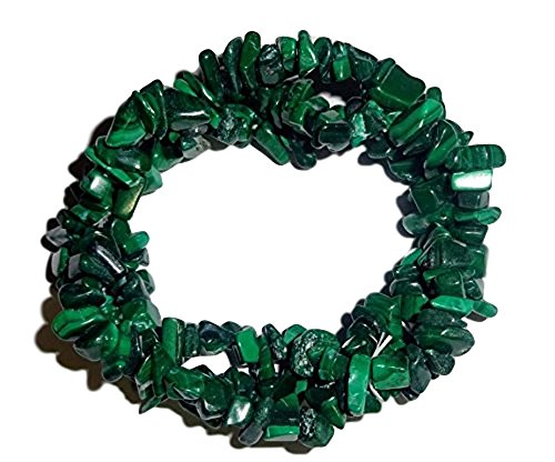 1pc Natural Malachite Crystal Healing Triple Twist Braided Chip Gemstone 7 Inch Stretch -