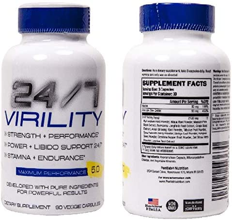 24 7 Virility Testosterone Enlargement Booster for Men – Increase Size, Strength, Stamina – Energy, Mood, Endurance Boost – All Natural Performance Supplement – Made in USA