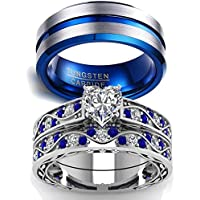 LOVERSRING Two Rings Couple Ring Bridal Sets His Hers Women 10k White Gold Filled Men Tungsten Carbide Wedding Engagement Ring Band