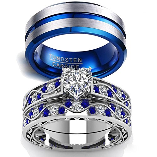 LOVERSRING Couple Ring Bridal Sets His Hers Women 10k White Gold Filled Men Tungsten Carbide Wedding Engagement Ring (Gold Couples Ring)