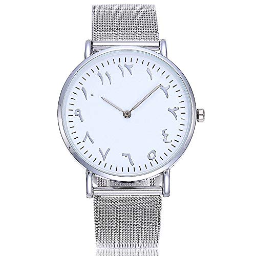 - Women's Stainless Steel Crystal Watch Arabic Numbers Analog Wrist Watch (Silver)