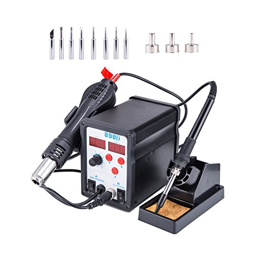Tek Motion 898D 2 in 1 SMD Hot Air Rework Station and Soldering Iron with 11 Tips 3 Nozzles & LED Screen