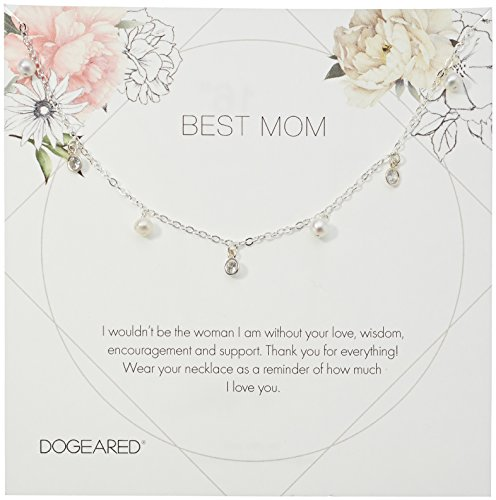 - Dogeared Best Mom Flower Card Dangling Pearl Chain Necklace, Sterling Silver, 16
