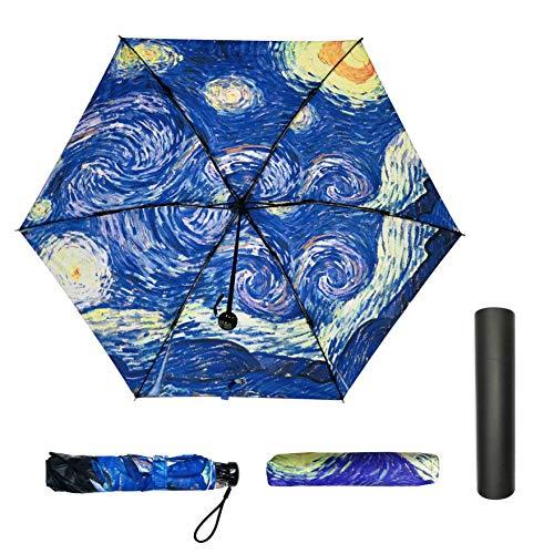 Jiesmart Outer Black Umbrella Starry Night UV Anti very light 3 folding 6 ounces