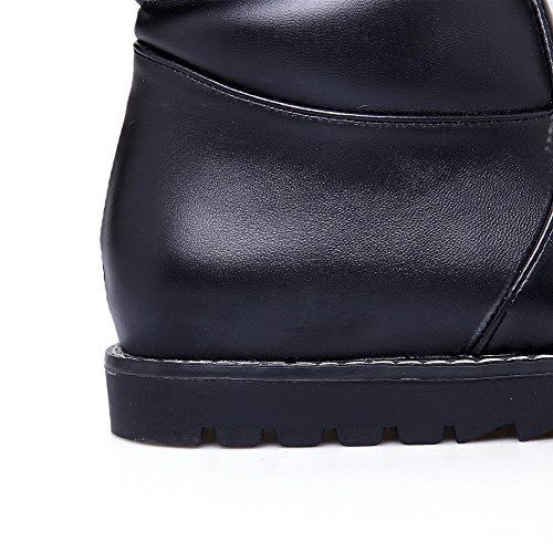 BalaMasa Womens Low Heels High Top Solid PU Snow Boots Black ktRFJpk