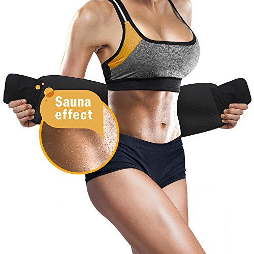 Perfotek - Waist Trimmer Belt - Weight Loss Wrap - Stomach Fat Burner - Low Back and Lumbar Support with Sauna Suit Effect - Best Abdominal Trainer