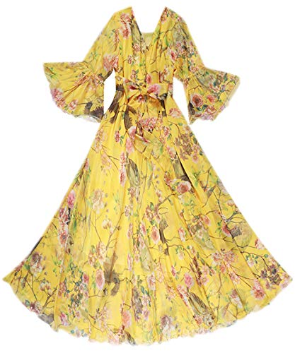 Medeshe Women's Bell Sleeve Flowy Chiffon Maxi Dress Holiday Beach Floral Sundress (Yellow Owl Floral, L/XL)