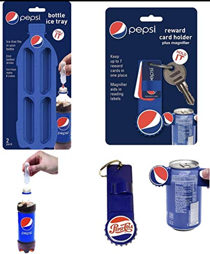 2 PACK PEPSI BOTTLE ICE TRAY & PEPSI REWARD CARD HOLDER PLUS MAGNIFIER COLLECTION