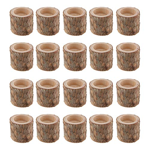 Fityle 20-Piece Wooden Tree Stump Tea Light Holder Candlestick for Home Wedding Decoration 5cm