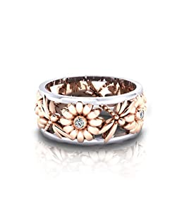 display08 Elegant Sunflower Dragonfly Hollow Shiny Metal Finger Ring Women Jewelry Xmas Gift - 10