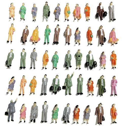 (CWBPING 50pcs HO Scale 1:87 Standing Poses People Sit Figures Scenery Passengers 1:87 Scale Model Figures Model Building Kit )