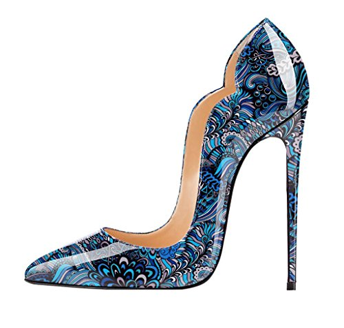 Tacco Col Blue Stiletto Donne Sexy Scarpe Spillo A Donna Multicolored Edefs EqAfwUxFa