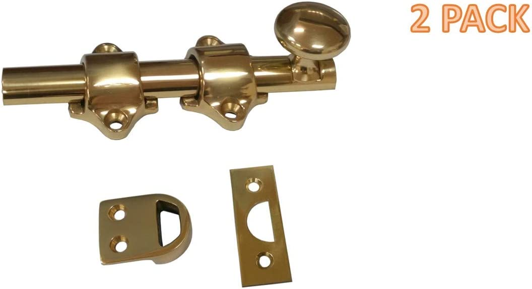 2 Guide Brass Polished Clear Coated Finish Rockwood 630-4.3 Solid Brass Surface Bolt with Universal and Mortise Strike 4 Bolt Length