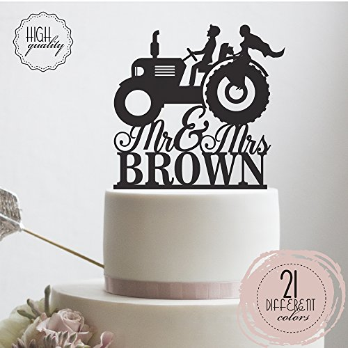 Mr Mrs Farmer Southern Style Wedding Cake Topper Personalized Tractor Lawn Deer Last Name