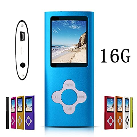 G.G.Martinsen 16 GB MP3/MP4 Portable Player with Mini USB Port, Plum Button and 1.78 LCD - Blue (MP3 & Media Players)