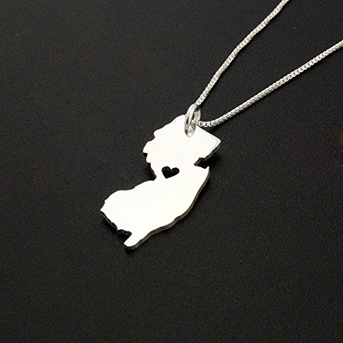 New Jersey necklace engraveable personalize New Jersey state necklace sterling silver state necklace with heart - Hometown Gift ()