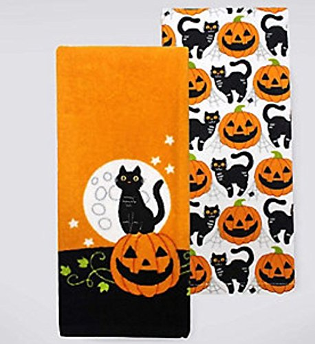 Celebrate Together Embroidery Black Cat Decorative Cotton Kitchen Bath Towels, Set of 2 ()