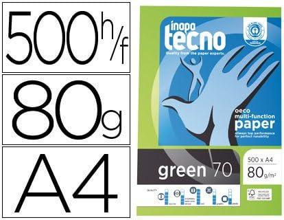 PAPEL RECICLADO A4 TECNO GREEN DE 80 GRS. (1 CAJA CON 5 PAQUETES DE 500 FOLIOS): Amazon.es: Oficina y papelería