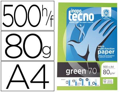PAPEL RECICLADO A4 TECNO GREEN DE 80 GRS. (1 CAJA CON 5 PAQUETES DE 500 FOLIOS)
