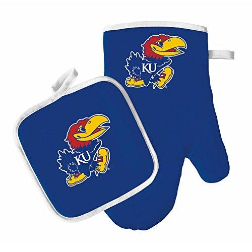 Oven Mitt and Pot Holder Set - Barbeque BBQ Kitchen Backyard Outdoors - NCAA - Kansas Jayhawks ()