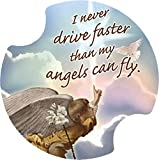 Thirstystone I Never Drive Faster Than My Angels Car Cup Holder Coaster, 2-Pack