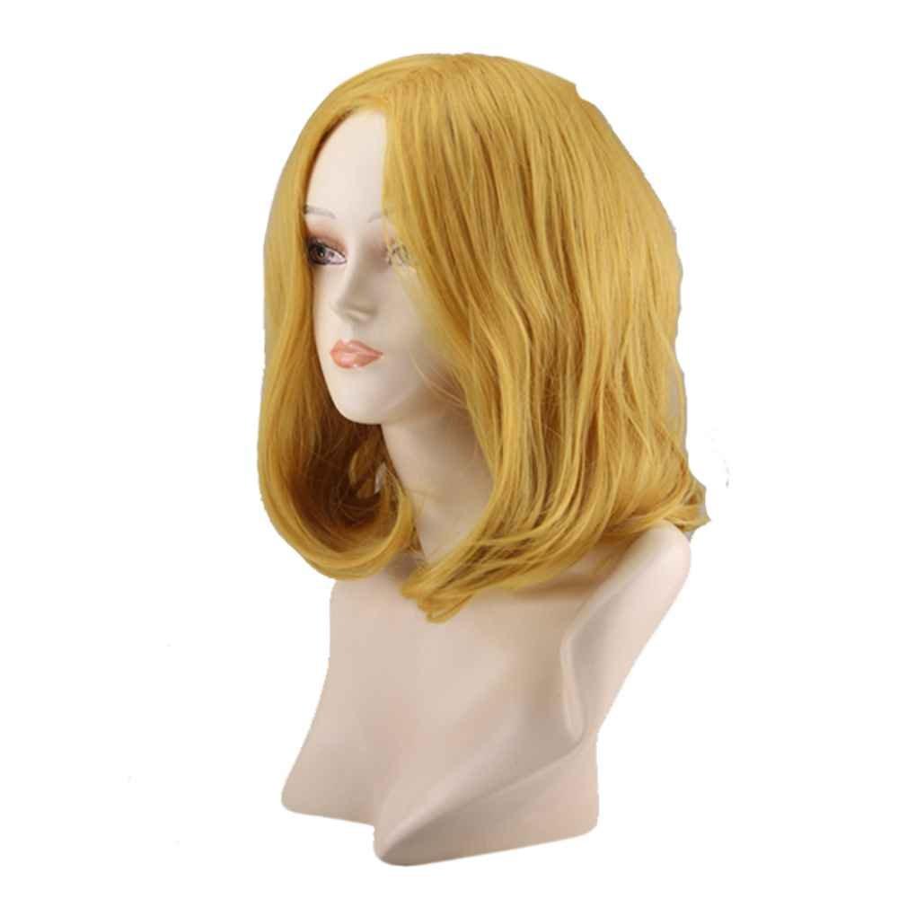 Babysbreath 38CM Pelucas onduladas de la onda grande atractiva de la longitud media Pelucas amarillas de oro del pelo sintético de las mujeres: Amazon.es: ...
