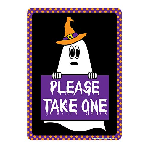 Halloween Please Take One Sign, Includes Holes, 3M Quality Reflective, Aluminum, 10