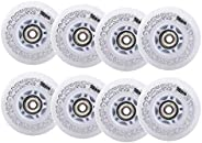 8-Pack Asphalt Outdoor Inline Hockey Wheels 85A Roller Skates Replacement Wheel LED Light Up Wheels with Beari