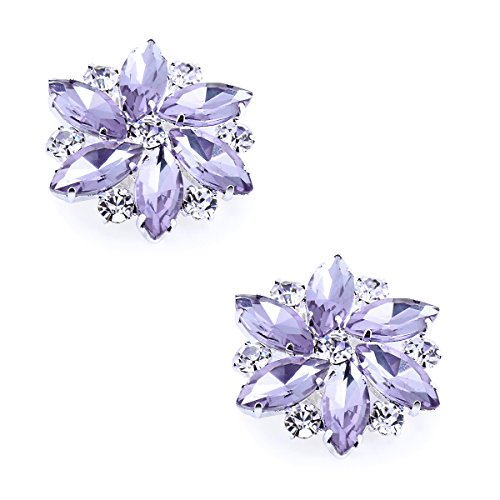 - ElegantPark AJ Shoes Dress Hat Accessories Fashion Rhinestones Crystal Shoe Clips 2 Pcs Lavender