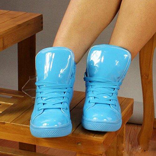 Gaorui Nieuwe Vrouwen Mannen Glanzende Hoge Top Sportschoen Waterdichte Regenlaars Dans Sneaker Plus Size Geel