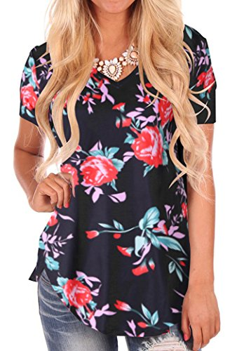 - Women Floral Comfy Short Sleeve V Neck Lightweight Top Tees XL Black