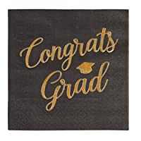"Cocktail Napkins - 50-Pack Graduation Party Napkins, Disposable Paper Napkins, 3-Ply, Congrats Grad Design, Black with ""Congrats Grad"" Gold Foil Print, 10 X 10 inches"