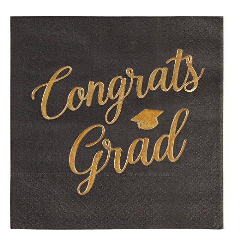 """Cocktail Napkins - 50-Pack Graduation Party Napkins, Disposable Paper Napkins, 3-Ply, Congrats Grad Design, Black with """"Congrats Grad"""" Gold Foil Print, 10 X 10 - Party Cocktail Napkins"""