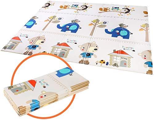 Tapis de jeu pour B/éb/é Enfant Tapis d/Éveil et de jeux pour B/éb/é Tapis pliable en mousse antid/érapant imperm/éable Appliquer /à lint/érieur et lext/érieur Non toxique-144,7 x 193 x 1 cm