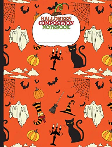 Halloween Ideas For College Parties (Halloween Party Composition Notebook for Kids - Pumpkins, Bats, Ghosts, and Cats: Blank College Ruled School Note Book (Halloween School Supplies Vol)