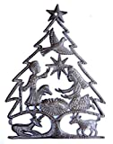 Cheap Nativity, Christmas Tree, Haiti Metal Art, Crech, Recycled Oil Drum, Fair Trade Project 13″ X 17″