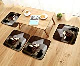 UHOO2018 Chair Cushions Lit Candles and Black Massage Stones in...