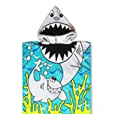 SunFuture Kids Hooded Poncho Towel,Baby Girls Boys Cotton Soft Absorbent Beach Bath Towels for Age 1-8 Years 24 x 48 Inch,Shark Theme,Breathable Cover-ups Cape for Bath/Shower/Pool