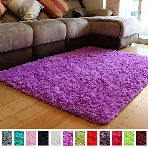 PAGISOFE Soft Fuzzy Purple Area Rugs for Kids Room Girls Bedroom Fluffy Floor Rugs Shag for Dorm Baby Nursery Fur Rugs Cute Plush Rug Decorative Accent Rug Thick Shaggy Carpet 4' x 5',(Purple) (Area Purple Rug Light)