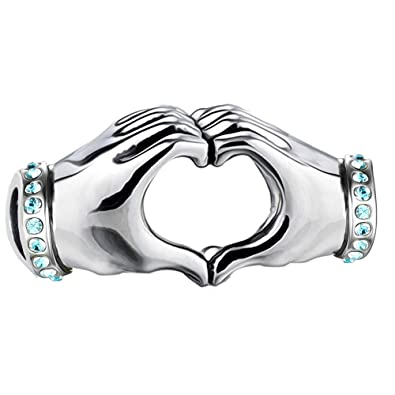 b7a7a761a I Love You Heart Hands Charm - Aqua Crystal S925 Sterling Silver fits  Pandora Women's Charms Bracelet Bead - Gift boxed: Amazon.co.uk: Jewellery