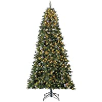 Home Heritage Lincoln 9-Foot Christmas Tree with Lights, Glitter & Pine Cones
