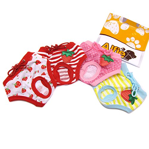 Alfie Pet by Petoga Couture - Torri Diaper Dog Sanitary Pantie 4-Piece Set - Size: S (for Small Girl Dog Breeds) by Alfie