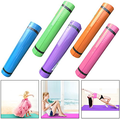 Fineser 5MM Thick Durable Exercise Yoga Mat, Eco Friendly Non Slip Exercise Fitness Pad Yoga Mat for Pilates Fitness and Workout(Random Color) by Fineser