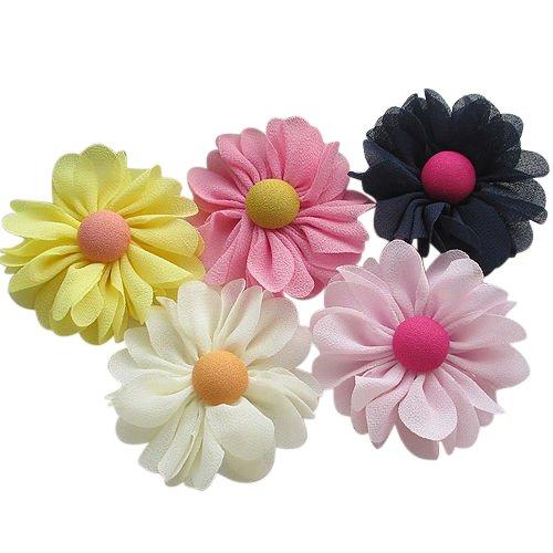 Chenkou Craft 20pcs 60mm New Organza Ribbon Chiffon Flowers Bows Sewing Wedding Decoration (Chiffon ()