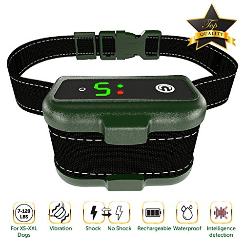 [NEWEST 2018] RECHARGEABLE Bark Collar - Smart Detection Chip - Dual Stop Anti-Barking Mode: Beep/Vibration, Shock for Small, Medium, Large Dogs - IPx7 Waterproof - No Bark Safe Training